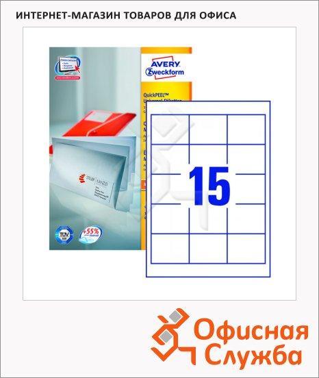 Этикетки самоклеящиеся Avery Zweckform QuickPeel 3672-100, белые, 64x50мм, 15шт на листе А4, 100 листов, 1500шт, для всех видов печати