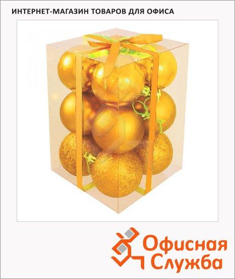 Набор елочных шаров Вельт 50мм, 12шт, пластик, золотые