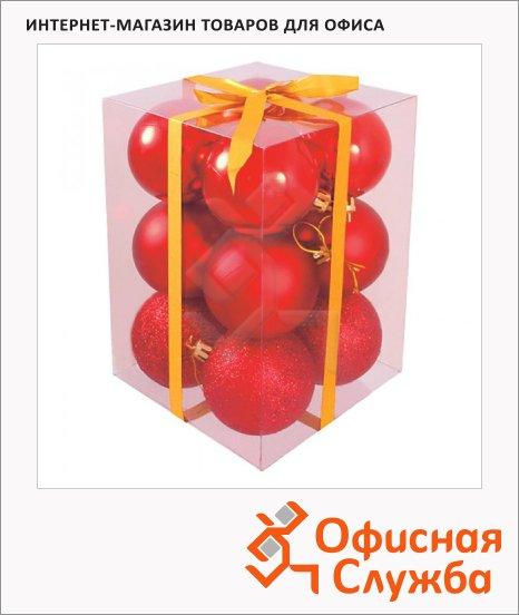 фото: Набор елочных шаров 50мм 12шт, пластик, красные