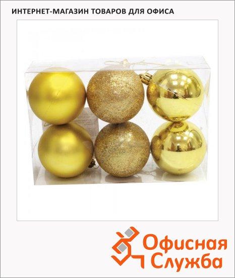 Набор елочных шаров Вельт 60мм, 6шт, пластик, золотые