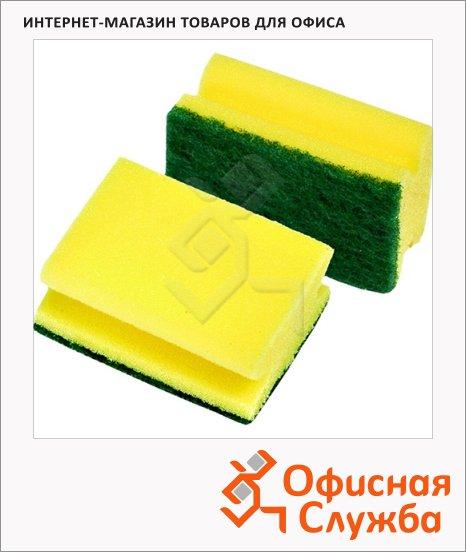 фото: Губка для мытья посуды формованные 9х7см, желтые, 48шт/уп