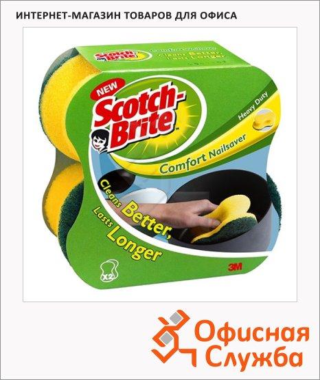 фото: Губка для мытья посуды Comfort Nailsaver поролоновые 13х6.5см, желтые, 2шт/уп