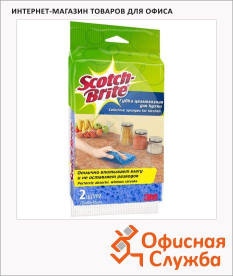 Губка для мытья посуды Scotch-Brite Деликат целлюлозная, 13.5х8см, ассорти, 2шт/уп