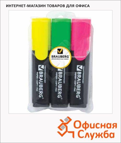Текстовыделитель Brauberg Contract набор 3 цвета, 1-5мм, скошенный наконечник