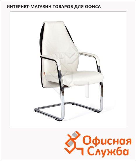 фото: Кресло посетителя Chairman Basic V иск. кожа на полозьях, белая, черная