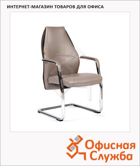 фото: Кресло посетителя Chairman Basic V иск. кожа на полозьях, бежевая, серая