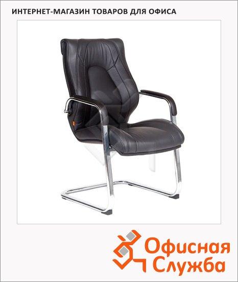 фото: Кресло посетителя Chairman Fuga V иск. кожа черная, на полозьях