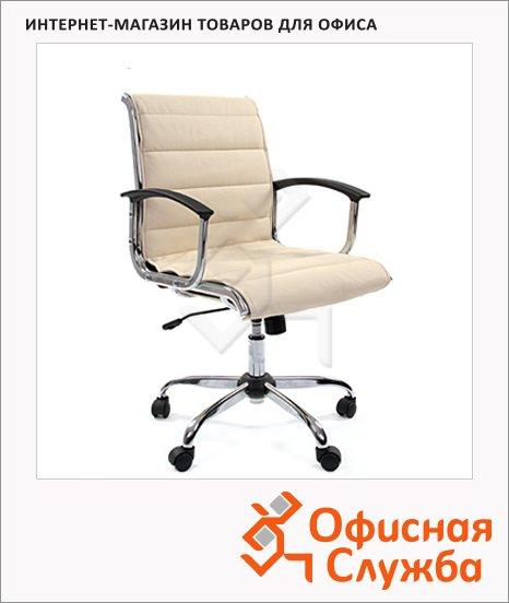 Кресло руководителя Chairman 760-M иск. кожа, крестовина хром, низкая спинка, бежевая