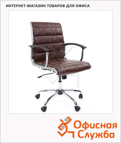 Кресло руководителя Chairman 760 иск. кожа, крестовина хром, низкая спинка, коричневая