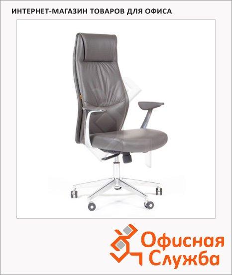 Кресло руководителя Chairman VISTA иск. кожа, крестовина хром, серая