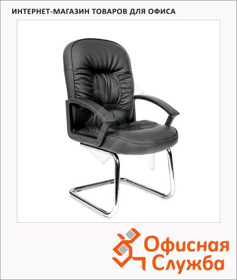 Кресло посетителя Chairman 418 V иск. кожа, черная, на полозьях, глянцевая с перфорацией
