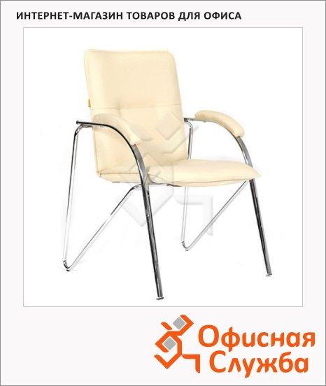 Кресло посетителя Chairman 850 иск. кожа, на ножках, бежевая, terra 101, собр.