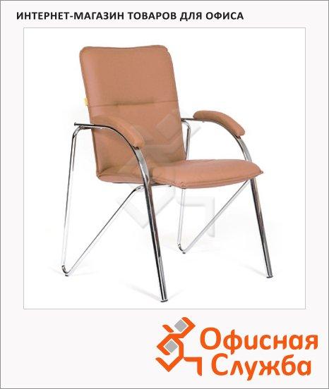 Кресло посетителя Chairman 850 иск. кожа, на ножках, коричневая, terra 110