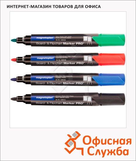 Маркер для досок и флипчартов Magnetoplan набор 4 цвета, 1.5-3мм, круглый наконечник, cap off, 12281