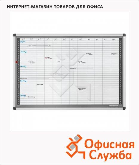 Доска планирования Magnetoplan 1249512 S 92х62.5см, белая, эмалевая, магнитная маркерная, системная рамка ferroscript, на месяц