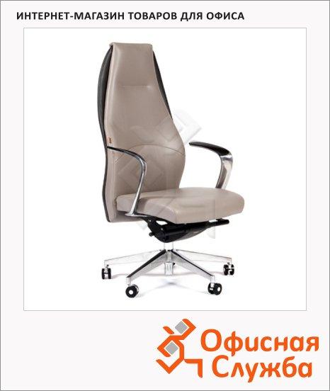 Кресло руководителя Chairman BASIC нат. кожа, светло-серая, темно-серая, комбинированная с искусственной кожей, крестовина хром