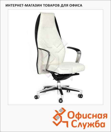Кресло руководителя Chairman BASIC нат. кожа, белая, черная, комбинированная с искусственной кожей, крестовина хром