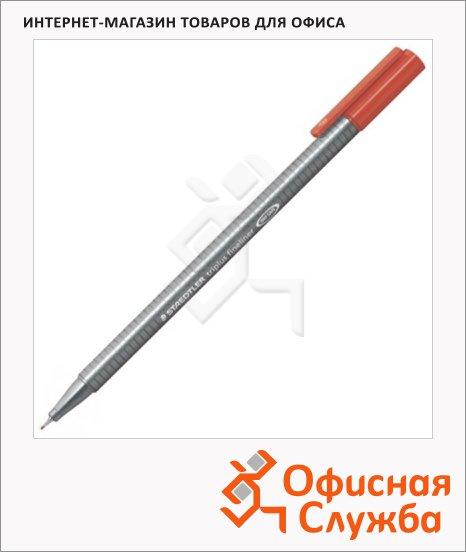 фото: Ручка капиллярная Staedtler Triplus Fineliner 334 красная 0.3мм, серебристый корпус