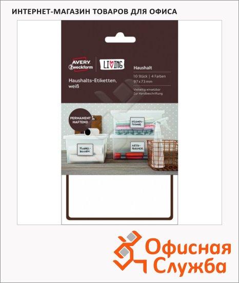 Этикетки самоклеящиеся Avery Zweckform Living 62009, белые, 97х73мм, 2шт на листе, 5 листов, 10шт, надписи от руки, для дома
