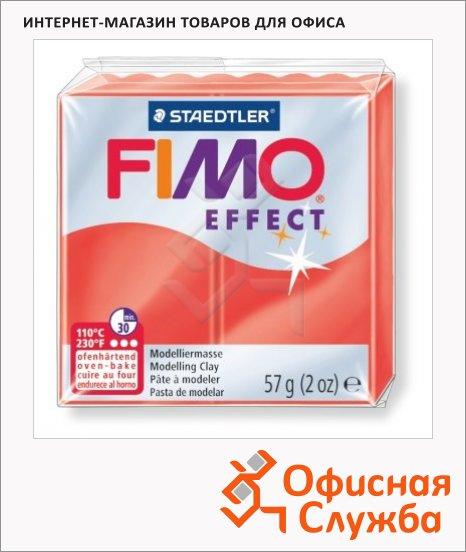 Полимерная глина Fimo Effect красная полупрозрачная, 57г