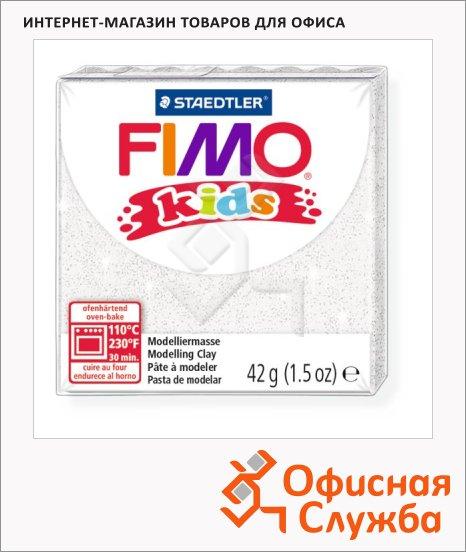 фото: Полимерная глина Fimo Kids блестящая белая 42г