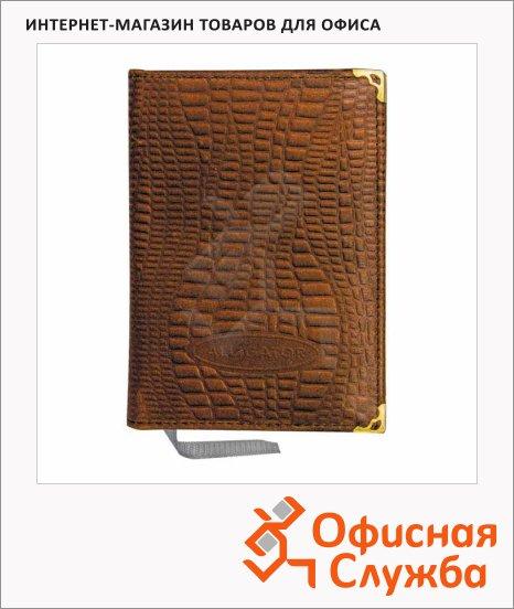 фото: Ежедневник недатированный Канцбург А6 160 листов, коричневый, кожа