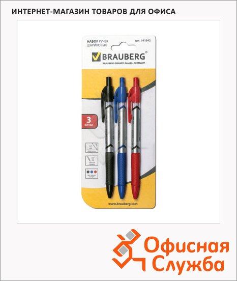 Набор ручек шариковых Brauberg RBP036/1 3 цвета, 0.7мм, 3шт, автомат