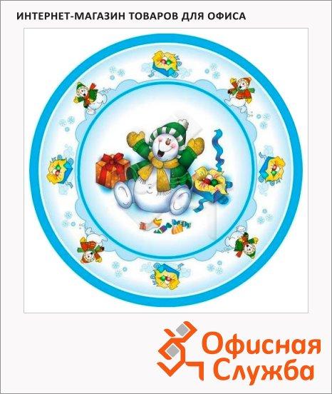 Тарелка одноразовая Buffet Веселый снеговик, d=23см, 10шт/уп