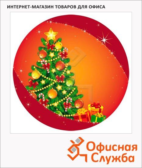 фото: Тарелка одноразовая Новогодняя елочка d=23см, 6шт/уп