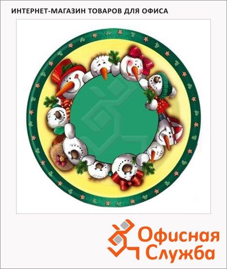 Тарелка одноразовая Papstar Снеговики, d=23см, 6шт/уп
