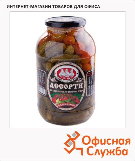 Консервированные овощи Скатерть-Самобранка черри и корнишоны, 2л