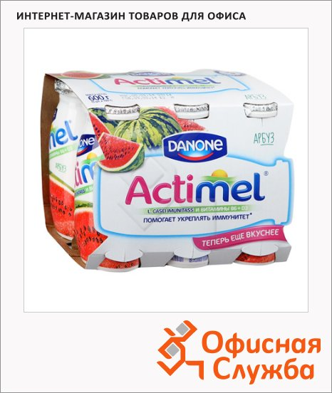 Кисломолочный напиток Actimel натуральный арбуз, 100г х 6шт