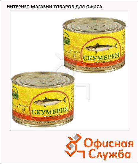 Скумбрия Monolith натуральная с добавлением масла, 2шт х 250 гр