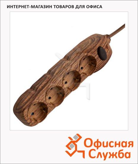 Удлинитель электрический Electraline 4 розетки, 1.5м, темное дерево