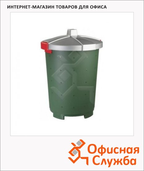 фото: Бак для мусора Бинго зеленый, с крышкой