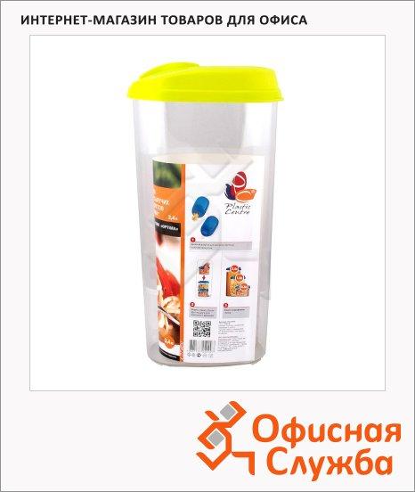 фото: Банка для сыпучих продуктов Plastic Centre Optima 2.4л пластик, с плотно прилегающей крышкой с дозатором