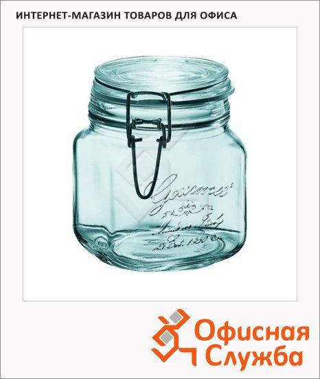 Банка для сыпучих продуктов Nova Home Gourmet 0.75л, стекло, с плотно прилегающей крышкой на замке