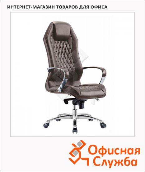 Кресло руководителя Бюрократ Aura нат. кожа, коричневая, крестовина алюминий
