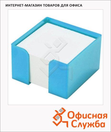 фото: Подставка для бумажного блока Оскол-Пласт голубая пластик, 9х9х5см