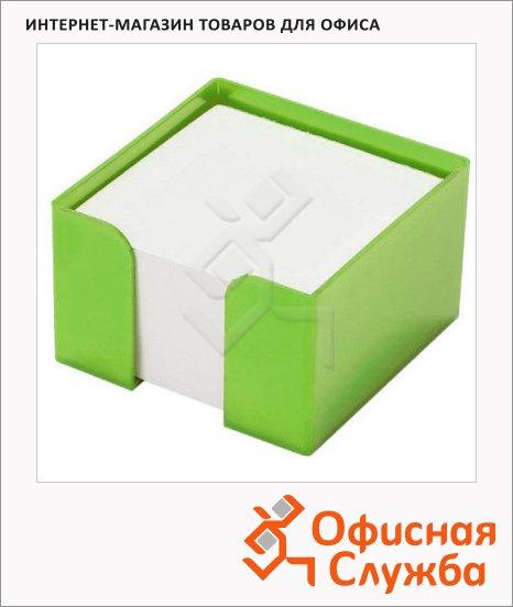 фото: Подставка для бумажного блока Оскол-Пласт зеленая пластик, 9х9х5см