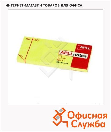Блок для записей с клейким краем Apli желтый, неон, 38x51мм, 3х100 листов