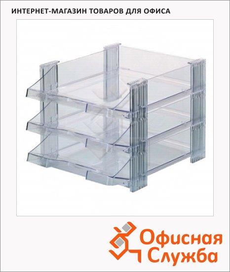 Лоток горизонтальный для бумаг Han А4, 3 секции, прозр. лотки, прозр. каркас, HA1023/23