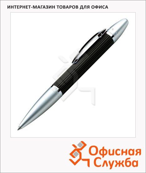 Ручка шариковая Lerche Scrinova Premium черная, корпус черный с матовым серебром