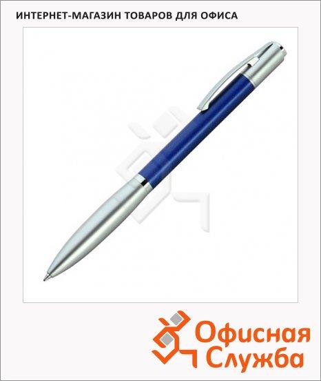 Ручка шариковая Lerche ScriNova Avanti черная, синий корпус с матовым серебром