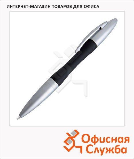 Ручка шариковая Lerche Scrinova Premium Gummi черная, синий корпус с матовым серебром