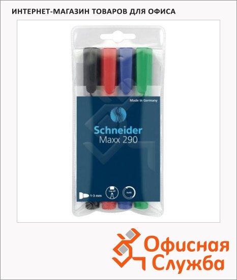 фото: Маркер для досок и флипчартов Schneider Maxx290 набор 4 цвета 2мм, круглый наконечник, cap off