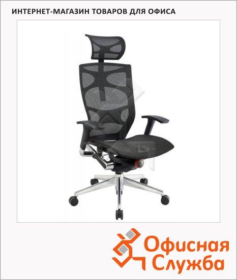Кресло руководителя Бюрократ 811 ткань, черная, крестовина алюминий