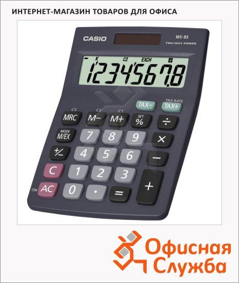 Калькулятор карманный Casio MS 8S-S-EH черный, 8 разрядов