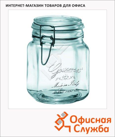 Банка для сыпучих продуктов Nova Home Gourmet 1л, стекло, с плотно прилегающей крышкой на замке
