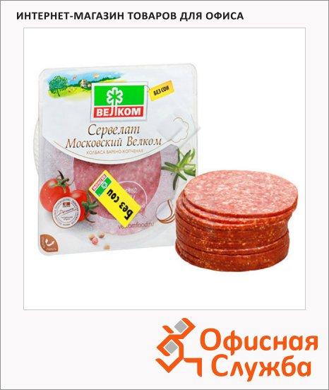 Колбаса Велком сервелат Финский варено-копченая, 350г, нарезка
